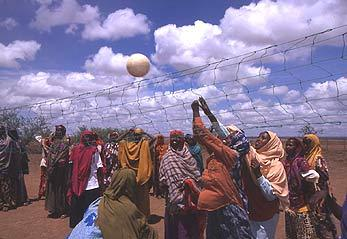 Somali refugee girls at the Hartisheik camp in Ethiopia enjoying a game of volleyball.