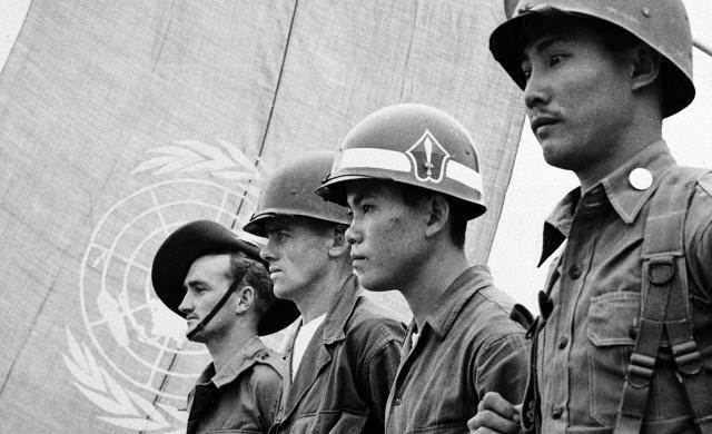 联合国驻朝鲜部队的留影