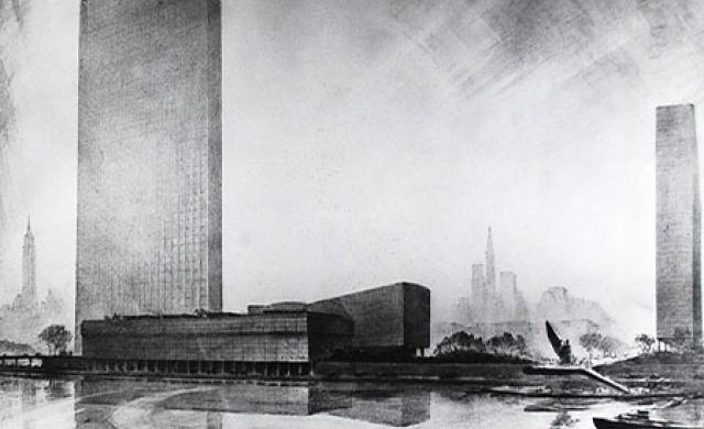Drawings of the United Nations Headquarters architectural projects by Hugh Ferriss