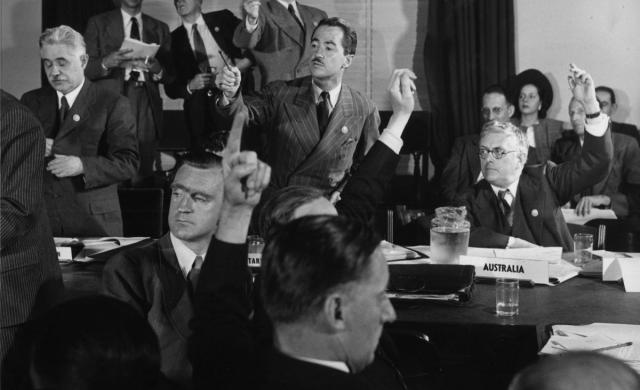 Delegates vote during one of the Committee meetings at San Francisco Conference, May 1945